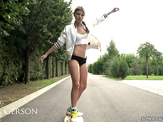Longboard loving girl Gina Gerson also loves around get her anus wrecked