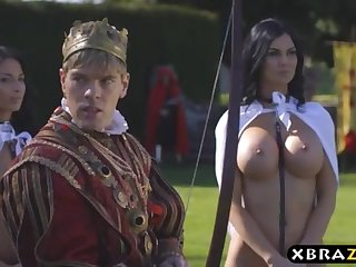 King romps his chesty promiscuous employees Jasmine and Anissa