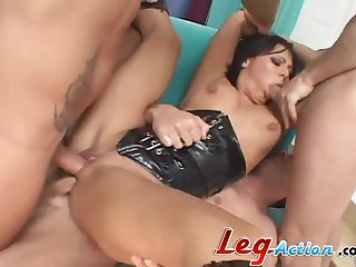 Remarkable threesome with horny brunette Sandra Romain