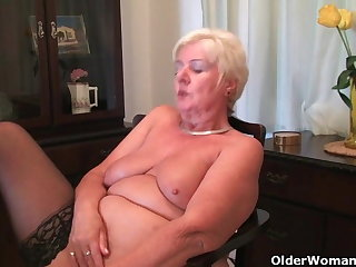 64 year superannuated and British granny Sandie rubs will not hear of superannuated pussy