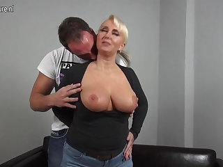Sexy broad in the beam breasted German mom fucking young boy