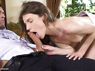 Delicate brunette babe Nelya gets her asshole pounded together with cream pied