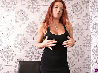 This nasty chunky breasted redhead with personify boobs loves doing it on her own