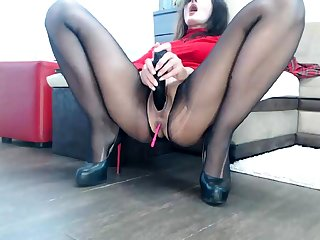 Nylon pantyhose with an increment of pussy masturbate