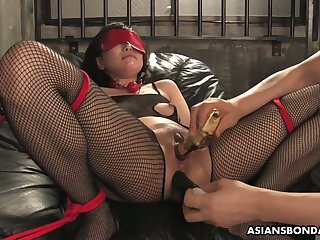 Asian whore in frayed body fishnets Kana Mimura gets double penetrated