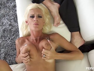 Olivia Blu spreads will not hear of legs for a friend's hard cock on the floor