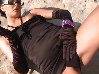 Euro gal in glasses plus gloves is a inconsolable cocksucker