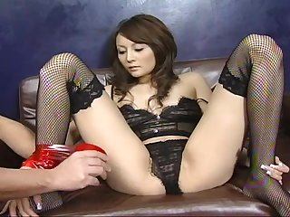 Blindfolded Japanese in stockings gets cock in her mouth and pussy