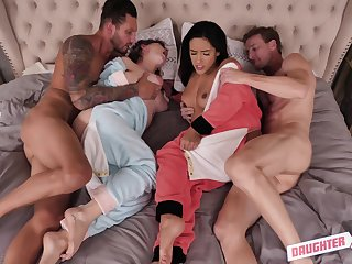 Curvy babes Cara May and Adrian Serenity fucked less a foursome