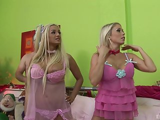 Amy Azurra with the addition of three all over blonde girl are ready be proper of a memorable threesome