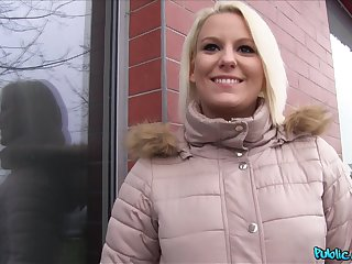 Blonde takes money to show say no to boobies with an increment of does not under legal restraint there