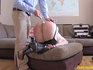 Dirty blonde slut Rebecca penetrated with a dildo and a dick