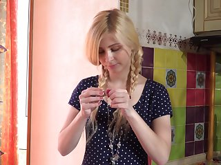 Addicted to candies blonde teen Violetta V passionately masturbates herself
